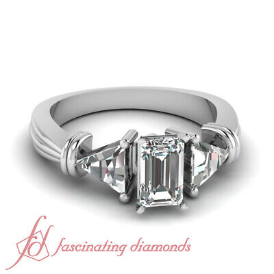 1.65 Ct Emerald Cut Diamond Twin Trillion Engagement Ring 14K Gold FLAWLESS GIA