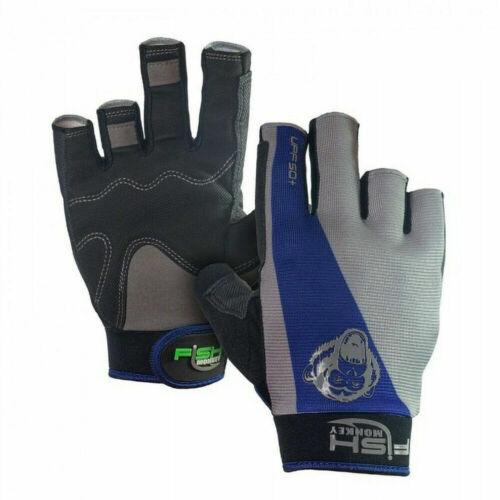 Fish Monkey The Crusher Half Finger Fishing Jigging Gloves Blue/Gray Medium NEW