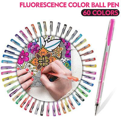 60 Gel Pens Set Pen Glitter Neon Metallic Color Art Coloring Books Colors Craft