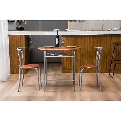 Hot 3 Piece Dining Set Metal Table and 2 Chairs Kitchen Dining Room Furniture US
