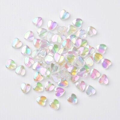 50 Acryl Perlen Herz 8 mm Klar irisierend - schimmernd