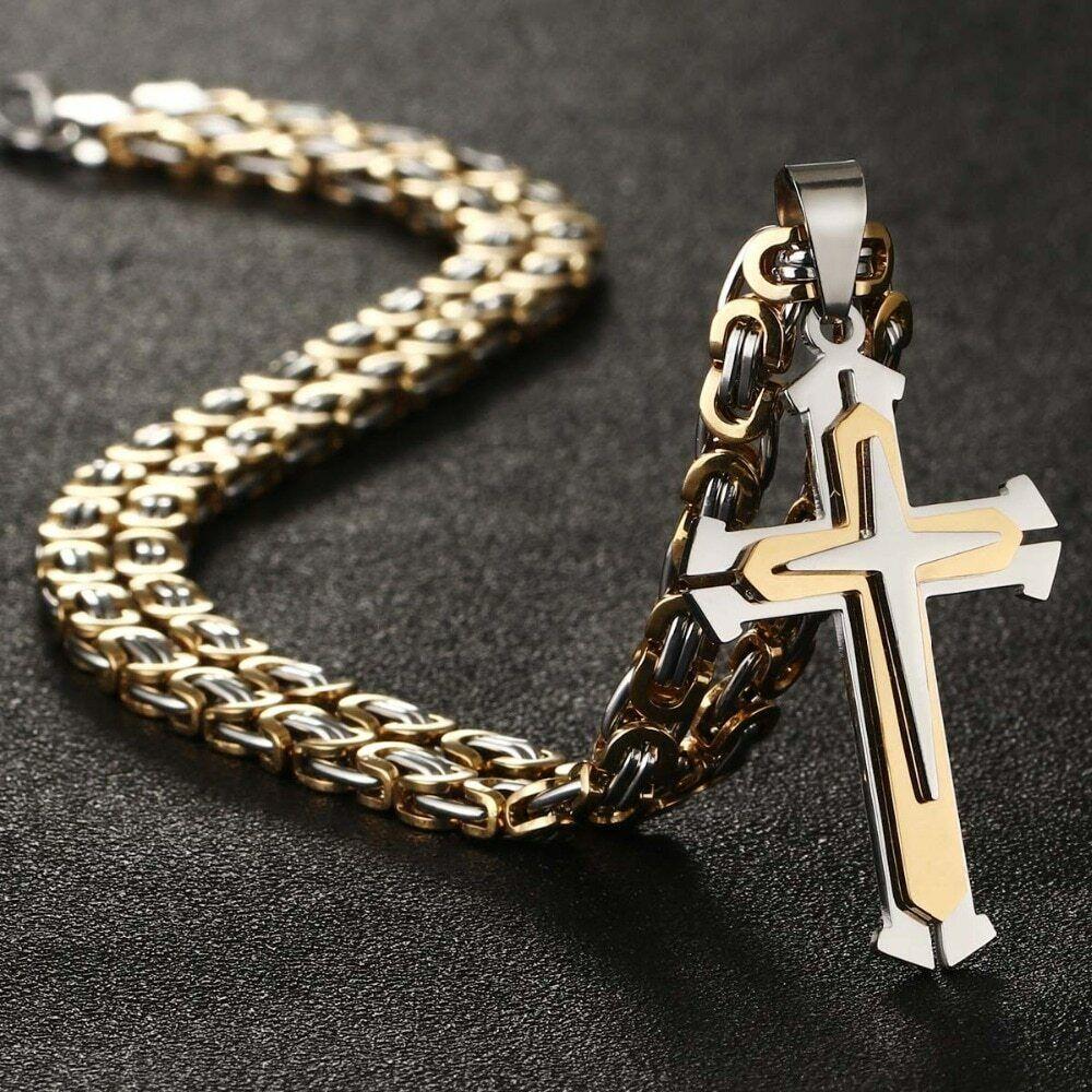 2020 Herren Edelstahl Halskette Panzerkette mit Kreuz