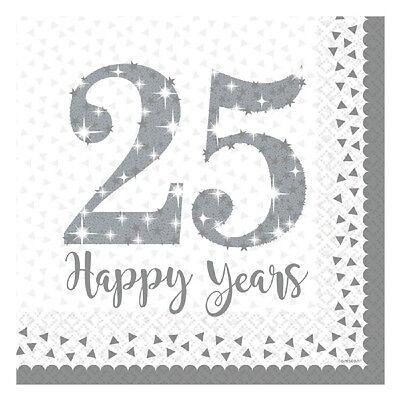 Bodas de Plata Servilletas con Gas 25th Aniversario Vajilla