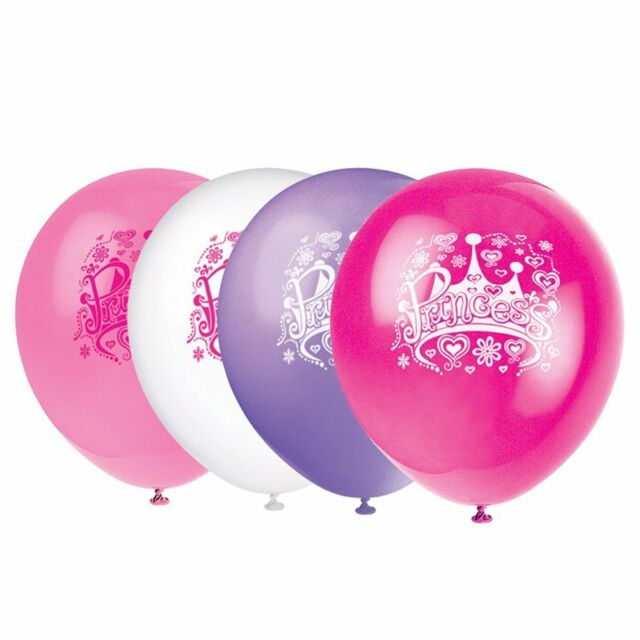 """Pack of 8 Mixed Princess Birthday Party Balloons 12"""" Latex Suit Air Or Helium"""
