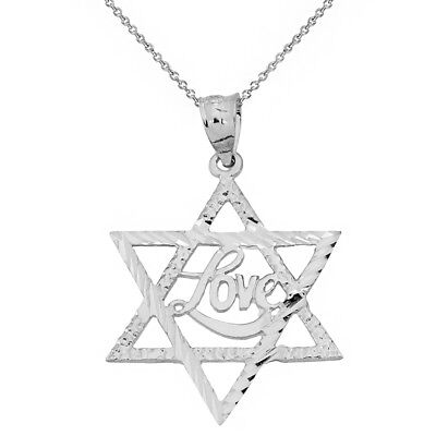 Love Star Of David Pendant - 14k White Gold Diamond Cut Star of David with the LOVE Word Pendant Necklace
