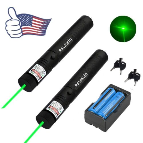 2PC 20Miles Military Green Laser Pointer Pen 5mw 532nm Powerful+Battery+Charger
