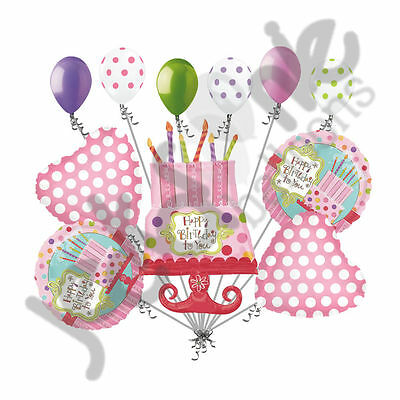11 pc Sweet Stuff Cake Happy Birthday to You Balloon Bouquet Funky Shape - Birthday Stuff