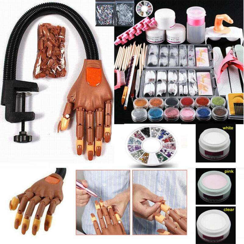 Flexible Movable Nail Trainning Practice Hand &Acrylic Powder Kit for Manicure