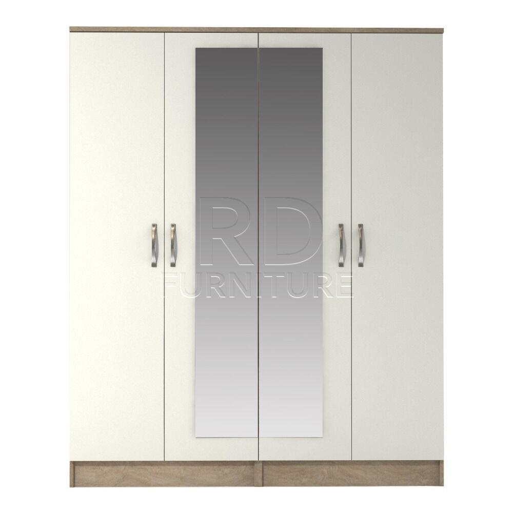 Beatrice 4 door mirrored wardrobe oak and white