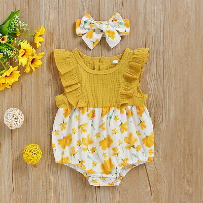 Newborn Baby Girl Floral Jumpsuit Headband Bodysuit Romper Outfit Clothes Summer