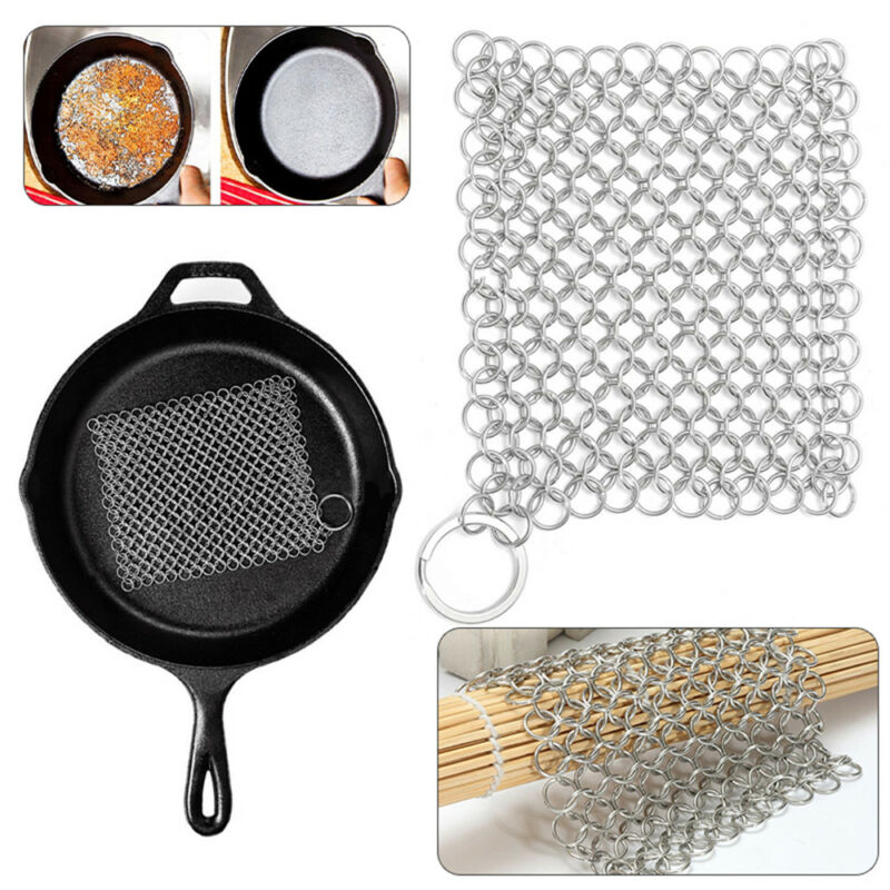Stainless Cast Iron Cleaner Chainmail Scrubber Kitchen Tool