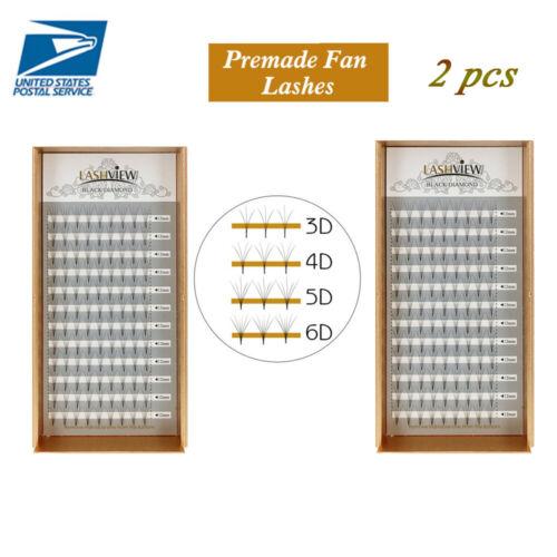 LashView 2pcslot Premade Fan Volume Eyelash Extensions 010mm 3D6D EyeLashes