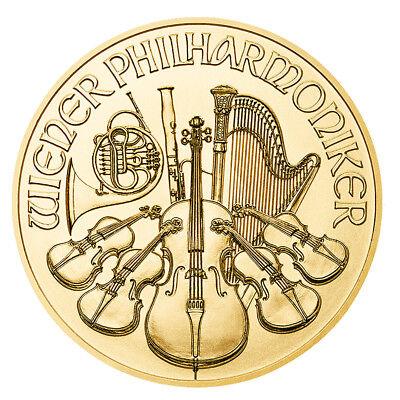 1/25 oz Gold Wiener Philharmoniker 2018 - 4 Euro Österreich Goldmünze 999,9