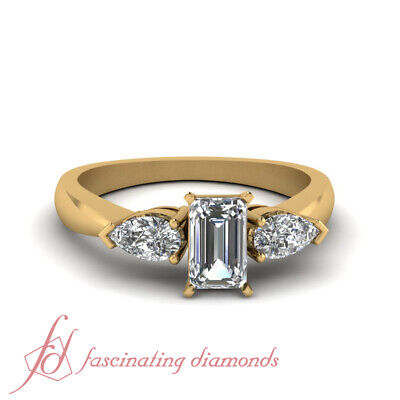 3/4 Carat Emerald Cut Three Stone Diamond Rings With Pear Shaped Accents 14K GIA