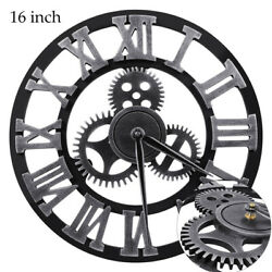 16 Round Modern Outdoor Wall Clock Large Silent Non Ticking Roman Numerals