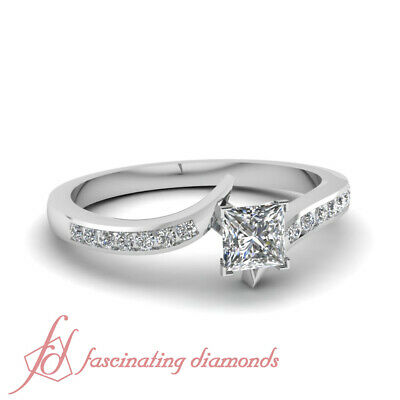 .60 Ct Princess Cut Diamond Open Zee Shaped Channel Set Engagement Ring SI1 GIA