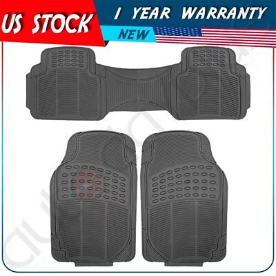 Car Floor Mats 3pc Set All Weather Rubber Semi Custom Fit for All Ford Black