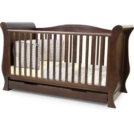 SLEIGH COT 3 in 1 Dark wood