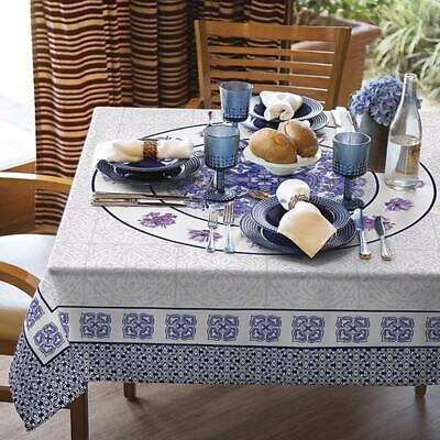 Decorative Printed Tablecloth in Blue and lilac tones. Water Resistant Fabric  - Blue Fabric Tablecloth