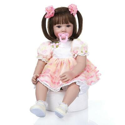 "Lifelike 24"" Adorable Reborn Toddler Baby Dolls Soft Silicone Girl Xmas Gifts"