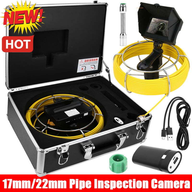 """20-50M 4.3"""" LCD Video Monitor Drain Pipe Sewer Inspection Camera Tube Endoscope"""