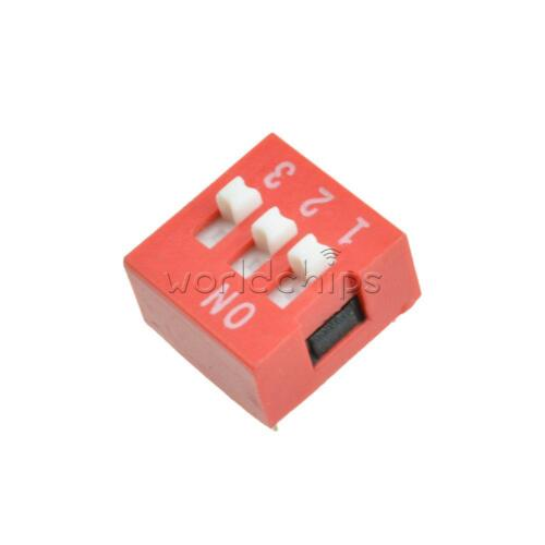 10pcs Red 2.54mm Pitch 3 PositionWay 3-Bit Slide Type DIP Switch Module