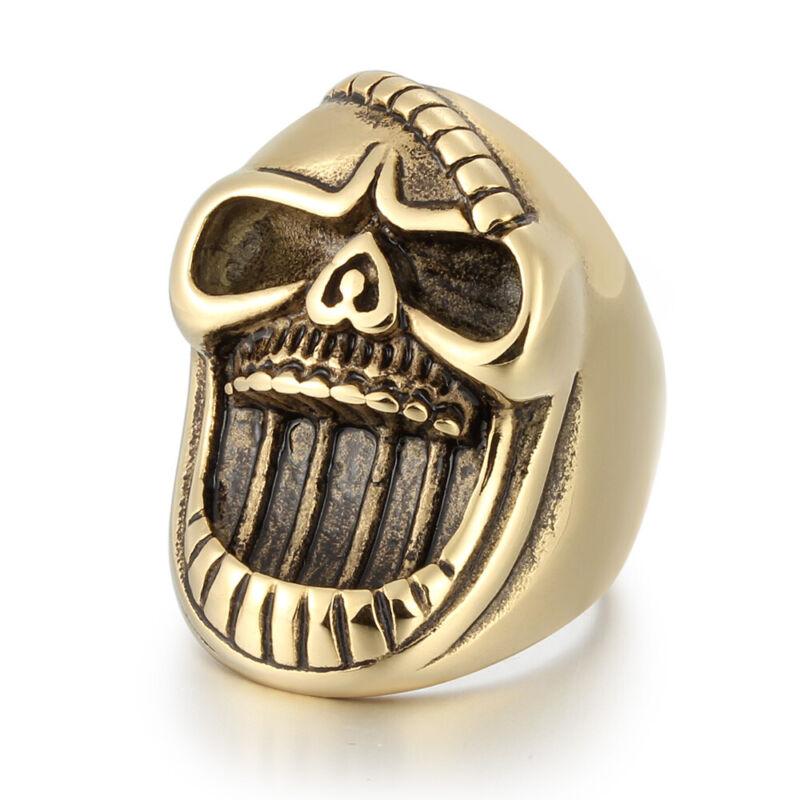 5 Pcs/Lot Fashion Stainless Steel Men Plated Gold Skull Biker Rings Male Jewelry