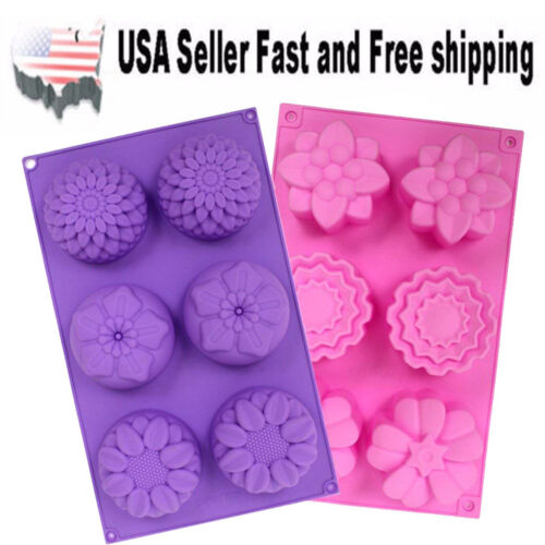 [Set of 2] 6 Cavity Mixed Flowers Silicone DIY Handmade Soap Mold ~ US Seller