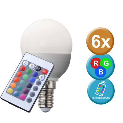 6x E14 RGB LED Farbwechsel Leuchtmittel 3,5 W 200 Lumen Lampe Glüh Birne DIMMBAR