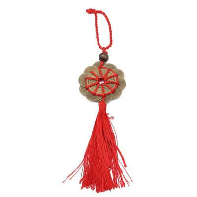 Handmade Red Rope Feng Shui Chinese Knot Hanging Tassel Wealth Lucky Coins Decor