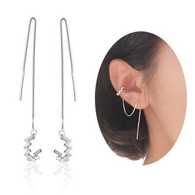 (Sterling Silver Ear Threader Ear Cuff Cubic Zirconia Wave Dangle Drop Earrings)