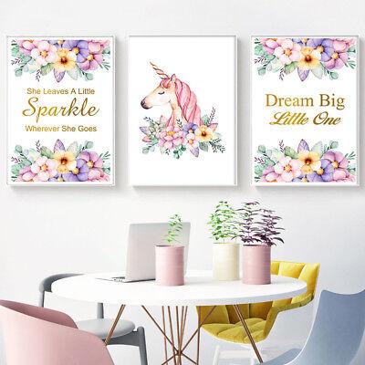 Unicorn Flower Canvas Poster Nursery Print Wall Art Baby Kids Bedroom Decor
