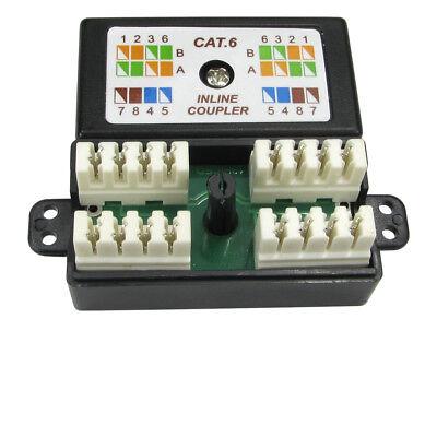RJ45 Cat6 Inline Punchdown Krone Cable Lead Coupler BLACK