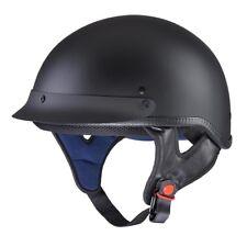 Motorcycle Half Face Helmet DOT Approved Motorbike Cruiser Chopper Matt Black S