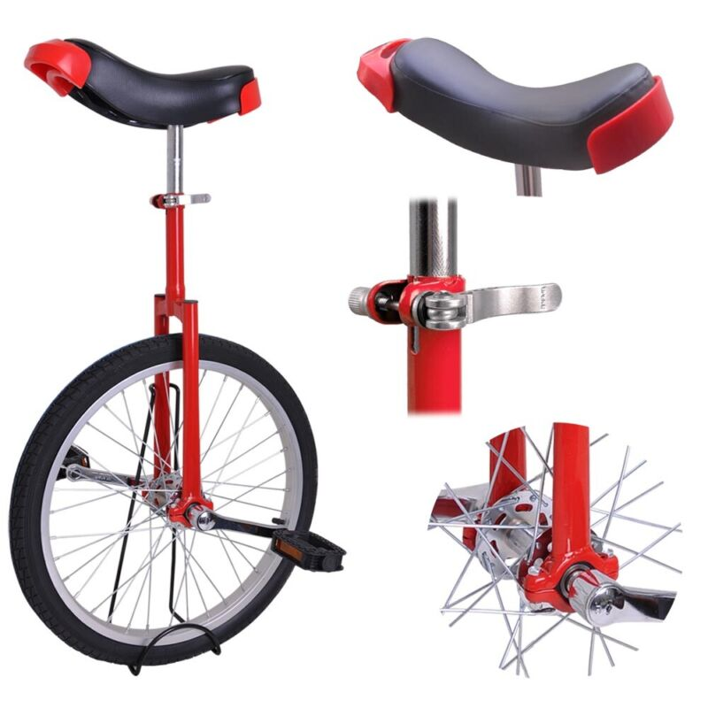 """20"""" Red Unicycle Cycling Scooter Circus Bike Skidproof Tire Balance Exercise"""