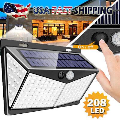 208 LED Solar Power Lights PIR Motion Sensor Wall Lamp Garden Waterproof -