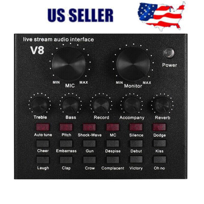 V8 External Sound Card USB Interface Audio Live Broadcast Microphone Mixer US
