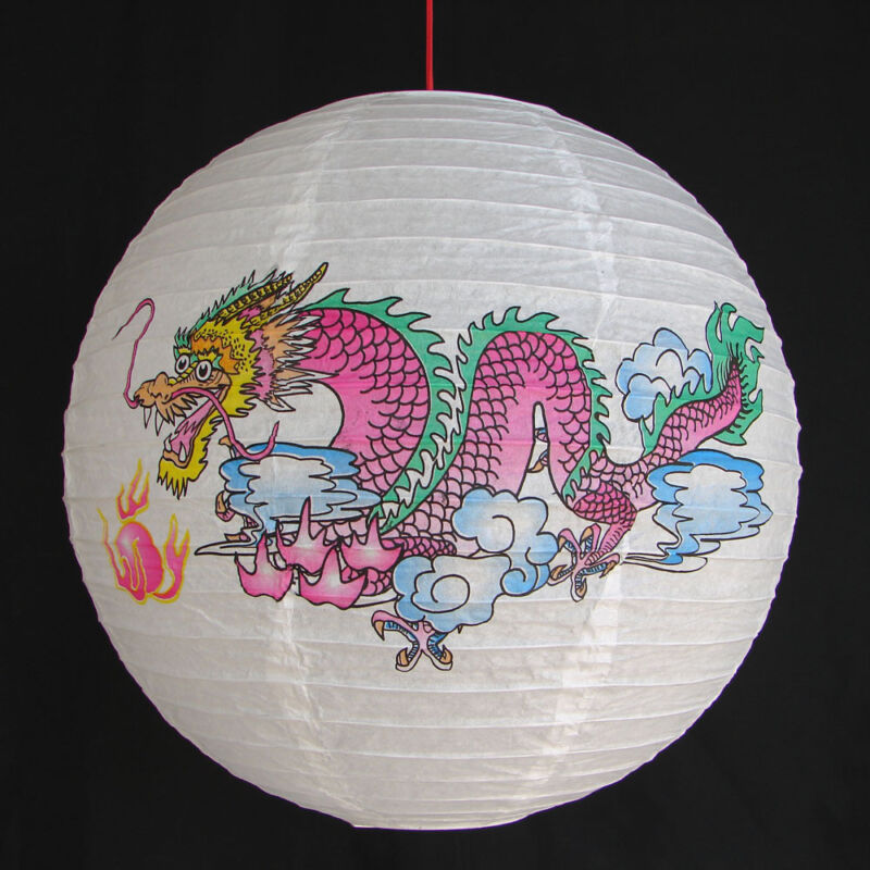 """2 of 14"""" Chinese White Paper Lanterns with Dragon Pictures"""