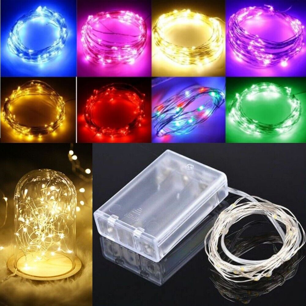 20 LED string Silver Copper Wire Fairy Lights Battery Powere