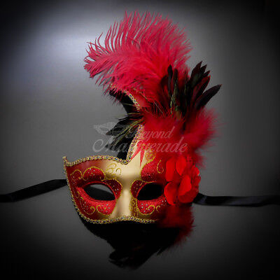 Ostrich Feather Venetian Masquerade Mask for Women M6131 Gold/Red ()