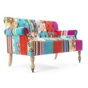 Divano imbottito tessuto patchwork design vintage moderno - Divano letto retro ...