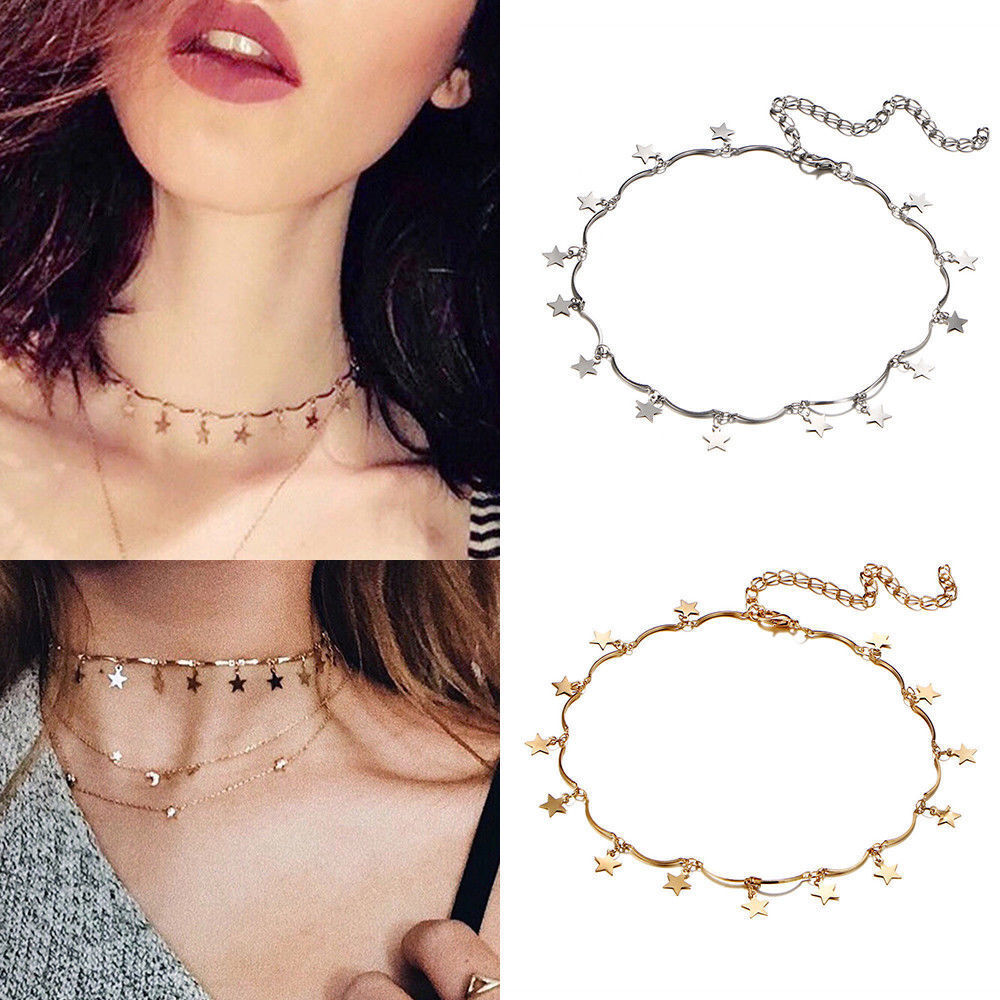 Jewellery - Cute Simple Choker Necklace Tiny Star Chain Gold Silver Women Jewelry Xmas Gift