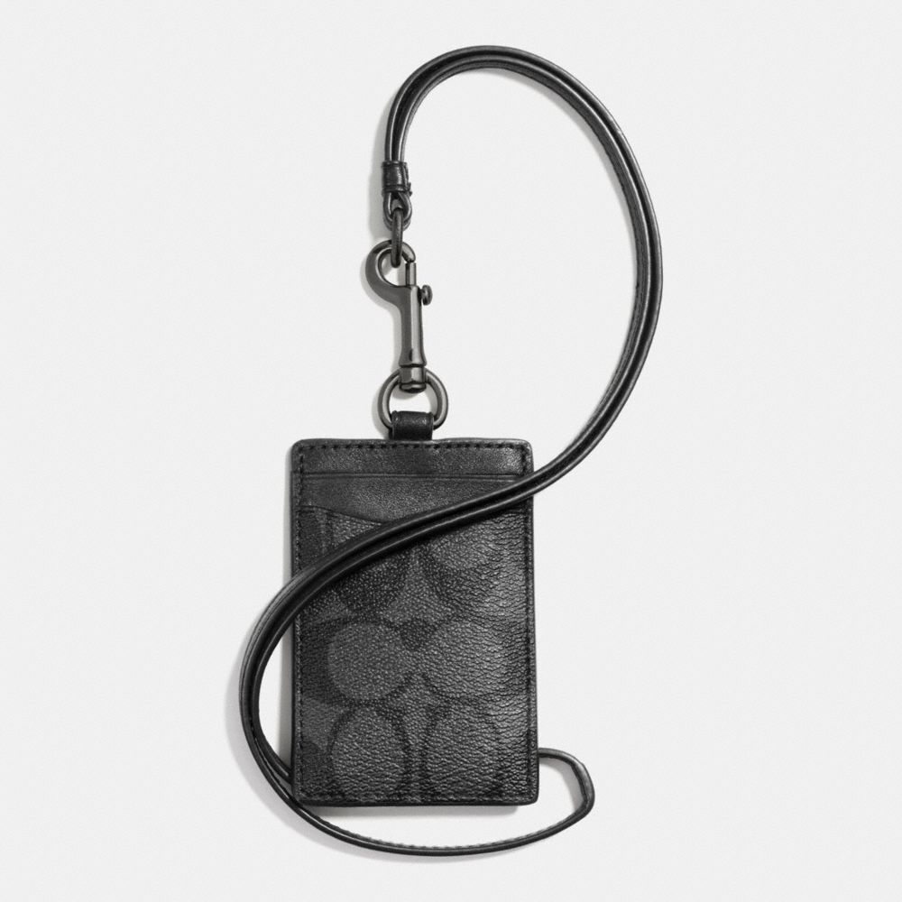 Coach Men's Lanyard ID Holder Signature Coated Charcoal Black Canvas Card Case