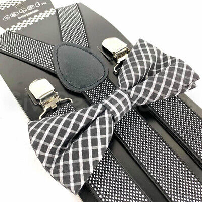 Suspender and Bow Tie Adults Men Fancy Dotted Plaid Formal Wear Accessories](Tie And Suspenders)