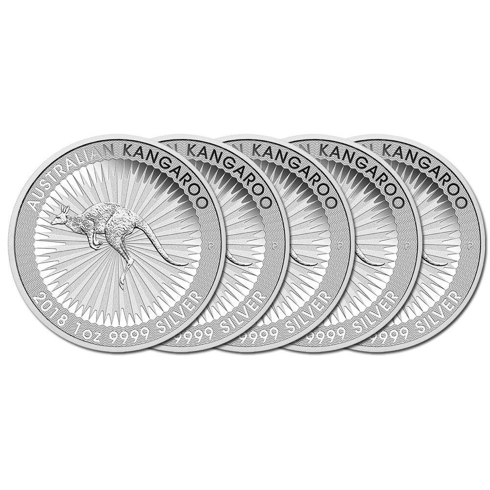 5 x 1 oz Silber Känguru 2018 - 1 Dollar Australien Silbermünze 999,9