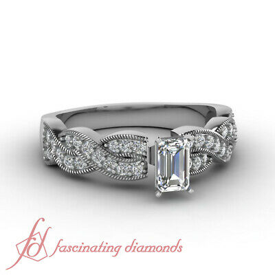 Pave Set Intertwined Engagement Ring 0.65 Ct Emerald Cut Diamond SI2-E Color GIA