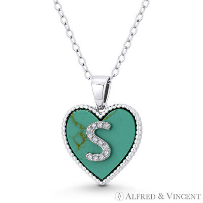 Initial Letter S CZ & Turquoise Heart Charm 925 Sterling Silver Necklace Pendant Initial Heart Charm Letter