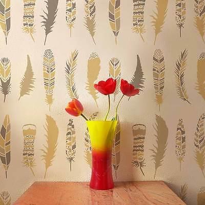 Feathers Allover Stencil- DIY Home Decor  - By Cutting Edge Stencils
