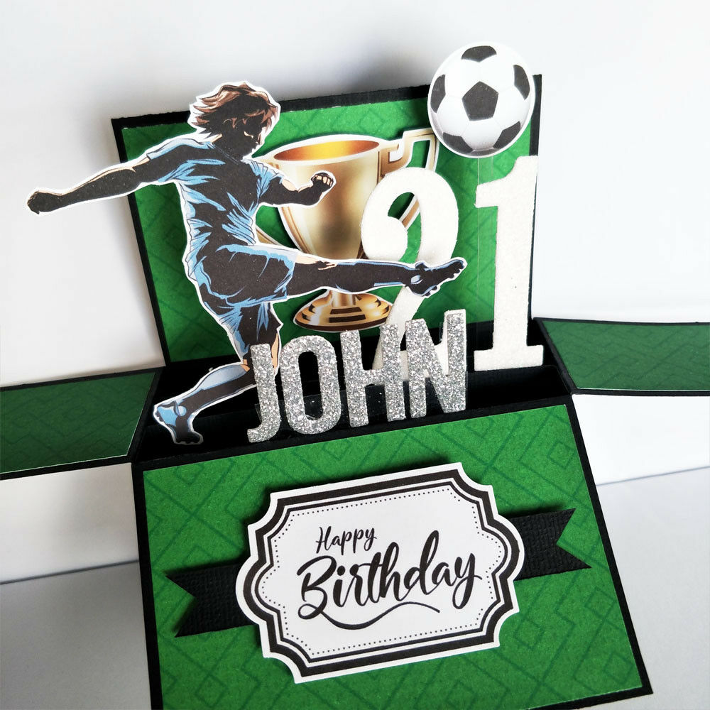 Handmade Name & age Personalised birthday card, football soccer birthday card