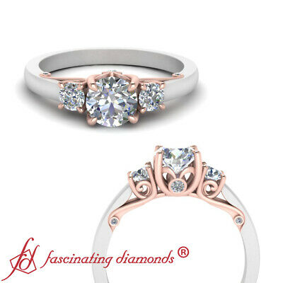 2 Tone 3/4 Carat Round Diamond Rose Gold Engagement Ring With Underneath Scroll